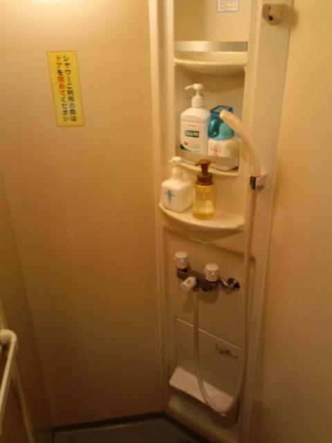 レンタルルーム ラナイ(新宿区/ラブホテル)の写真『10号室 シャワー室のシャワーヘッドと、ハンドソープ、プラスチックカップ、うがい薬など。』by ニューロン