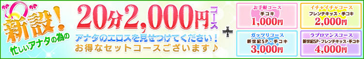 新設!忙しいアナタの為の20分2,000円コース 新世紀(南越谷/デリヘル)